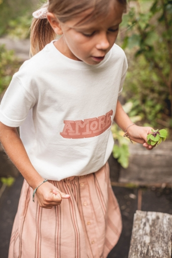 T-shirt Mini Amore white organic cotton jersey