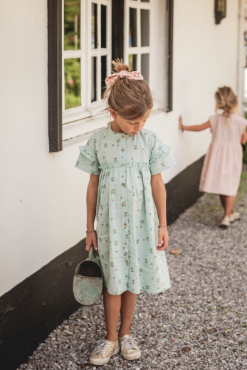 Zoe dress in water green linen and cotton print