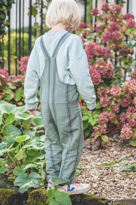 Overall Charlie green striped linen and cotton