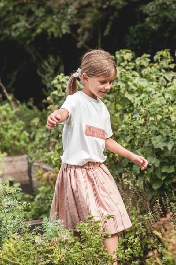 T-shirt Mini Amore white organic cotton jersey