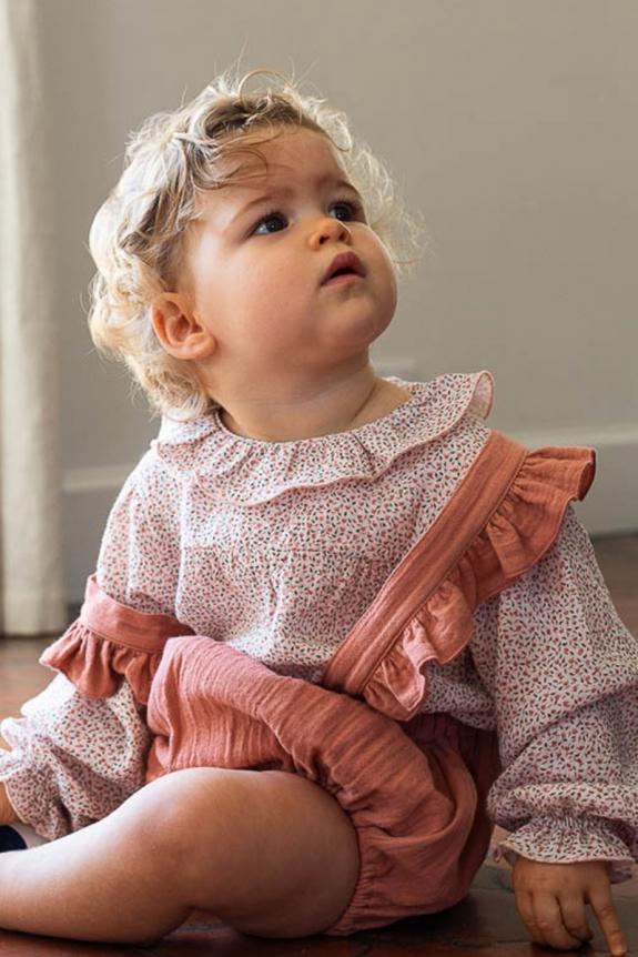 Autumn blouse in printed cotton gauze