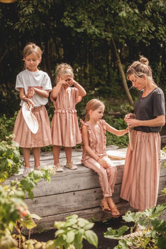 Jumspuit Toscane pink striped cotton