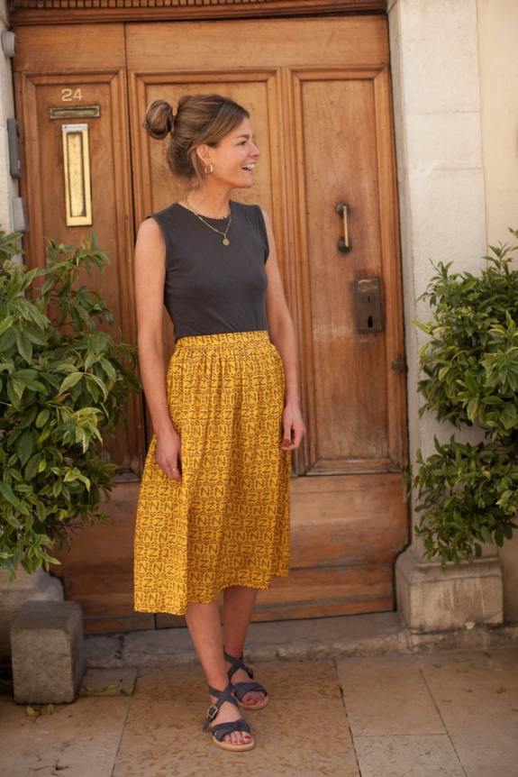 Woman skirt Hortense sunflower print