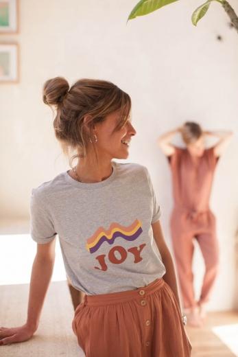 T-shirt Joy femme gris chiné jersey de coton bio