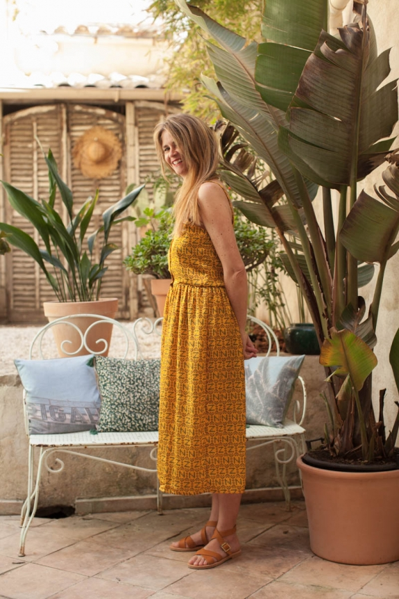 Dress Brune sunflower print