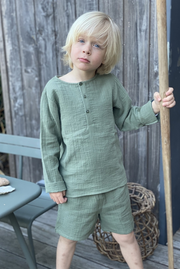 Pyjama Peter Pan green cotton gauze