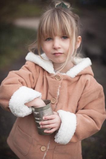Manteau Andrea velours côtelé doublure moumoute bois de rose