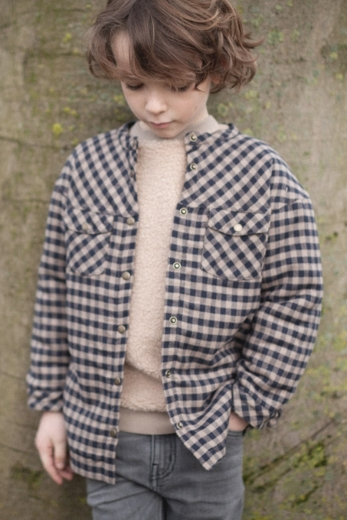 Octave coat gingham cotton and faux fur lining