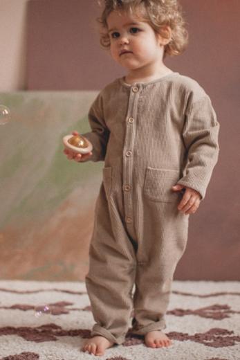 Overall Pio beige cotton corduroy