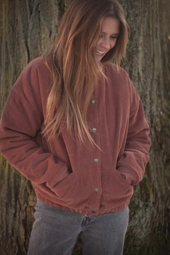 Nina coat corduroy and faux fur lining caramel