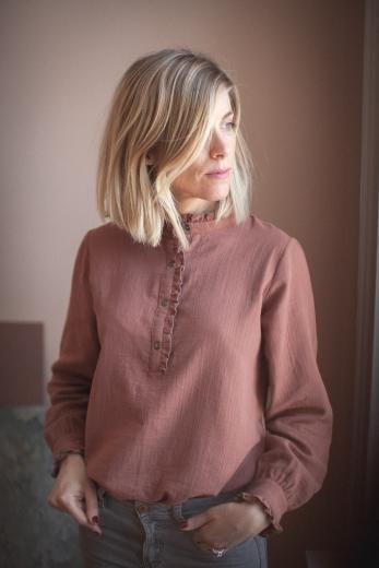 Isaure blouse terracotta cotton gauze