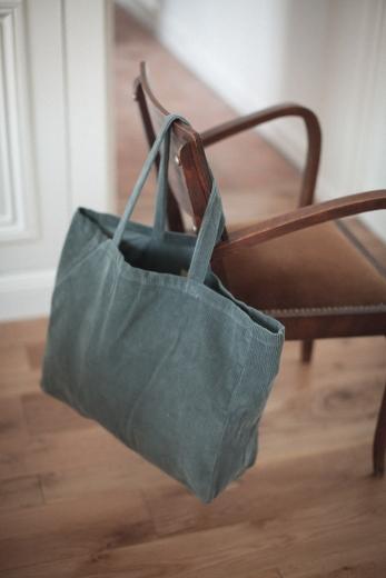 Balsam green corduroy tote bag