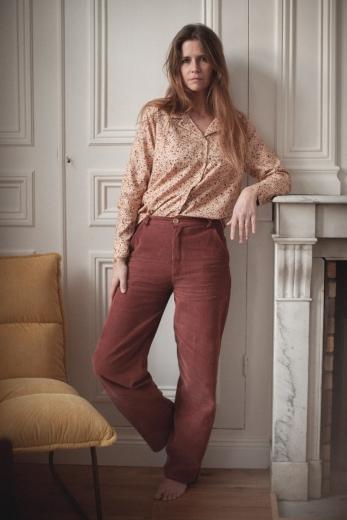 Pantalon femme Swann velours côtelé tomette
