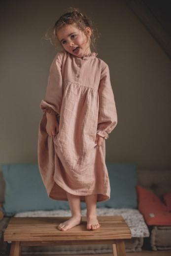 Nightdress Clochette pink cotton gauze