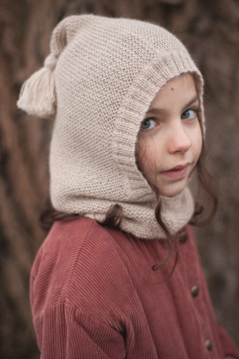 Kid's beanie Lutin in terracotta alpaca