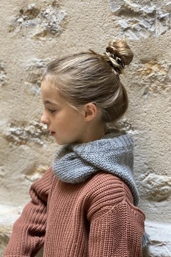 Kid's beanie Lutin in light grey alpaca
