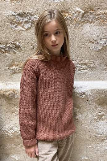Jumper Gisele for girls in terracotta wool and cotton