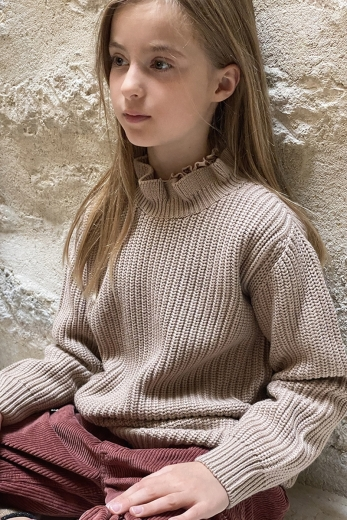Jumper Gisele for girls in beige wool and cotton